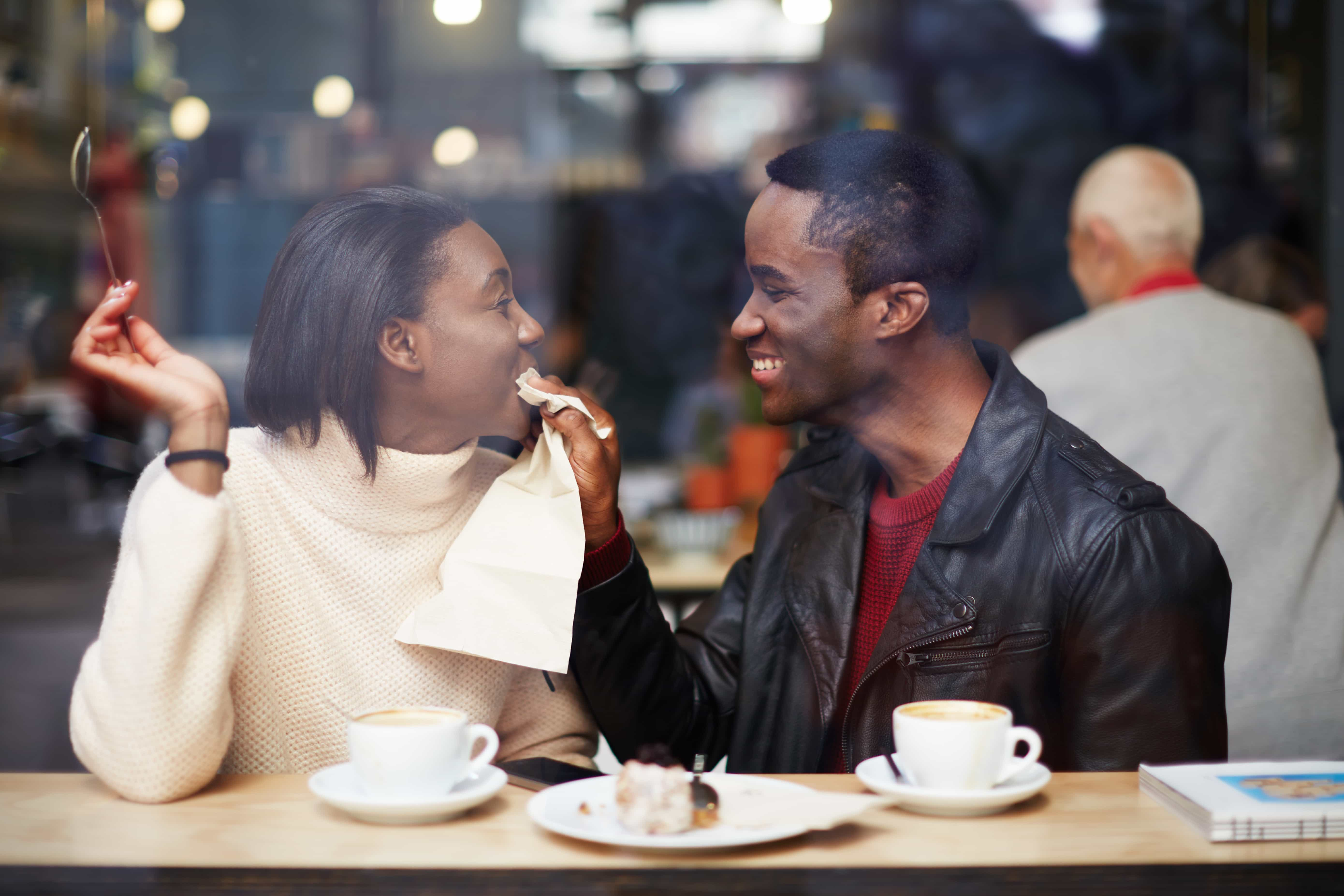 Portrait of young couple in love at a coffee shop boyfriend wipi