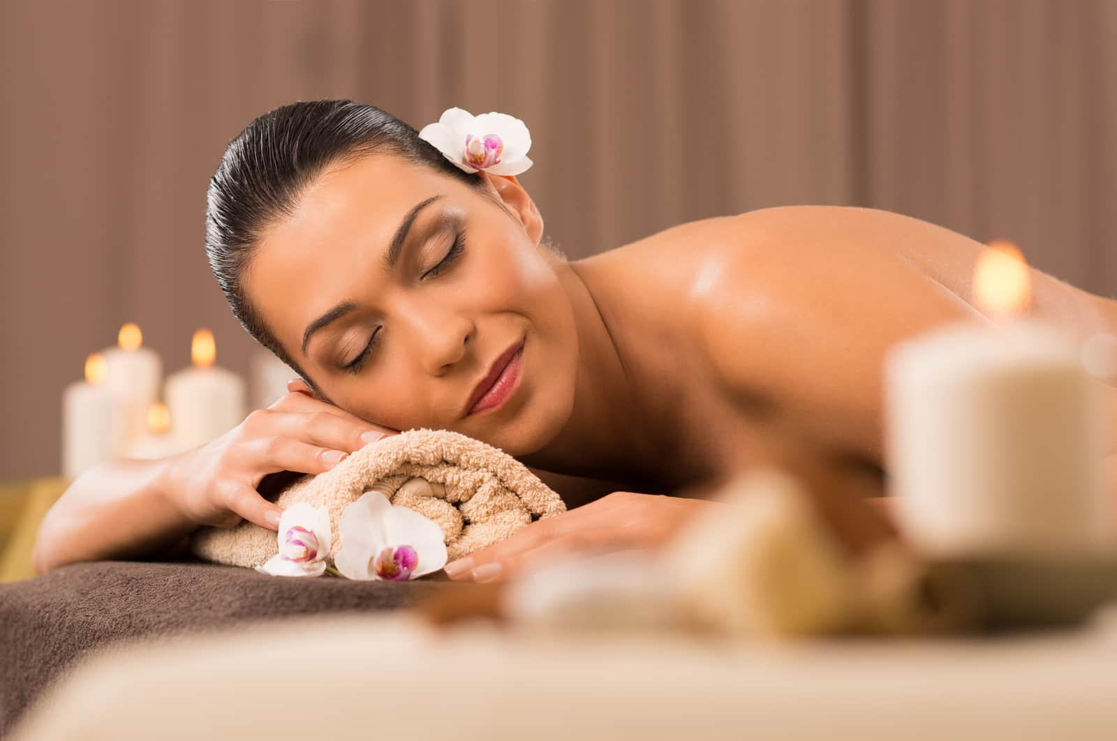 Serene Young Woman Relaxation In Spa Salon