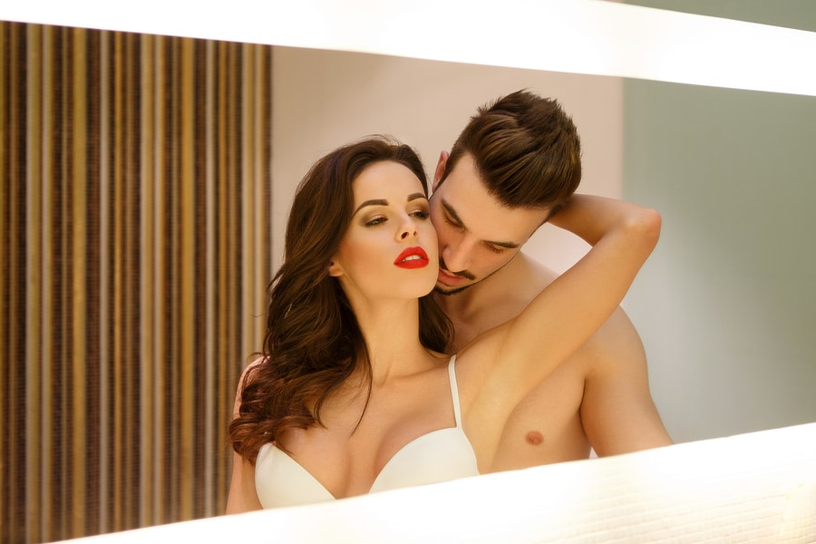 Passionate Sensual Couple In Mirror