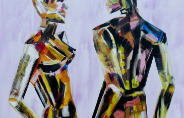 Painting of mannequins,robotic style models interacting.