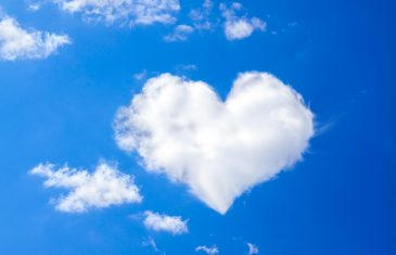background from the blue sky with a white cloud in the form of heart