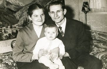 SZCZECINEK, POLAND, CIRCA 1950's: Vintage photo of parents with a baby