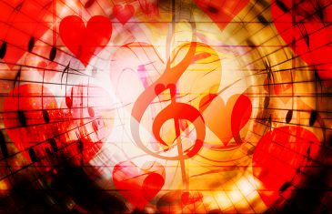 beautiful collage with hearts and music notes, symbolizining the love to music. Fire effect
