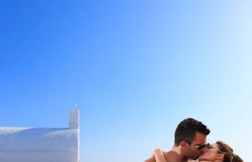COuple on their honeymoon in Santorini Greece