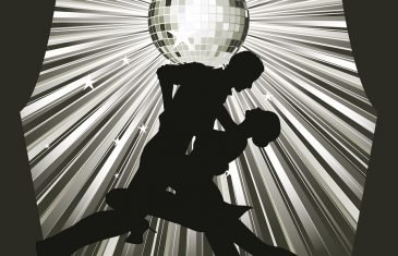 Couple silhouette dancing on stage,sunburst background with disco ball and dancing couple silhouette.