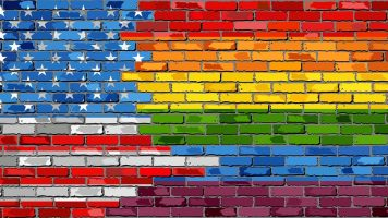 Brick Wall USA and Gay flags – Illustration, Rainbow flag on brick textured background,  Flag of gay pride movement painted on brick wall, Abstract grunge United States of America flag and LGBT flag